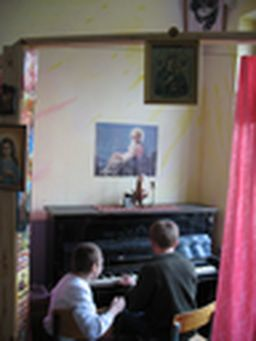 for ill Carpathian orphans prayer and music lessons in chapel are curing